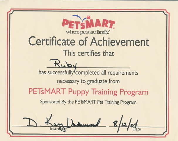 Click here - RUBY'S CERTIFICATE OF ACHIEVEMENT!!